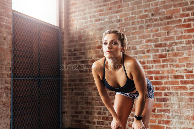Young woman in sportswear exercising indoors. royalty free stock photos