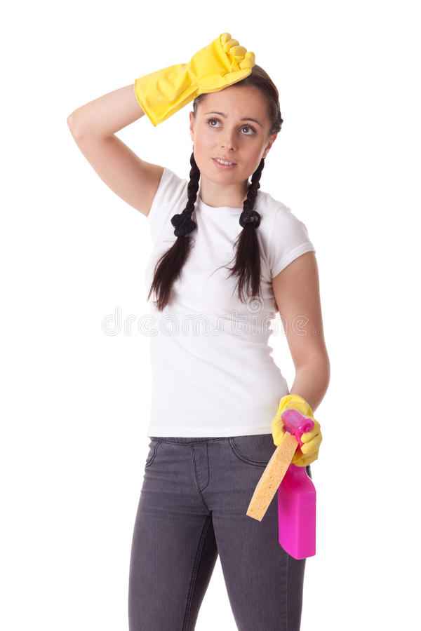 Download Young Woman With Spray Bottle And Sponge. Stock Photo - Image: 17655516