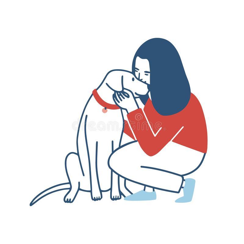 Young woman squatted down, hugs and kisses her dog. Funny girl embracing her domestic animal. Happy female cartoon. Character cuddling with her pet isolated on stock illustration
