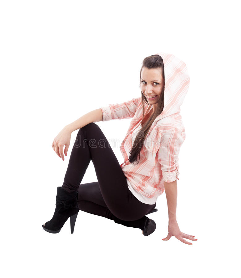 Download Young Woman In Squatting Position Stock Photo - Image: 24899532