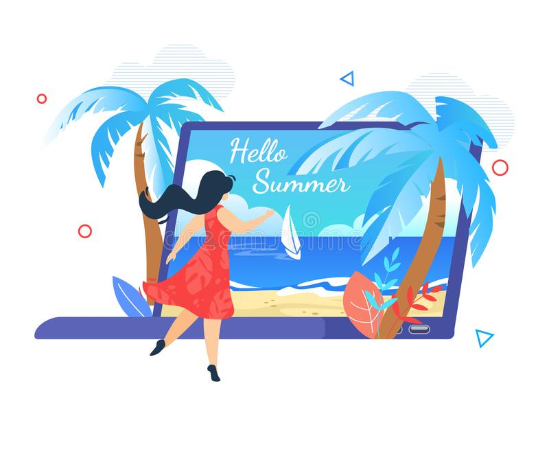 Young Woman Stand at Huge Laptop with Seascape. Sandy Beach, Palm Trees, Sailing Ship and Hello Summer Typography on Screen. Summertime Vacation, Traveling vector illustration
