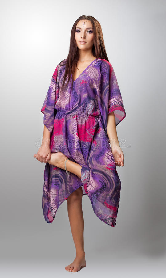 Young Woman Stand In Indian Sari Stock Images