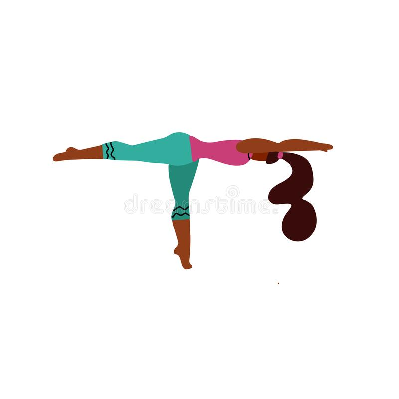 Young woman stand on one leg in a yoga pose and meditates. Yoga girl in fitness position. Cute bright girl performs yoga asana stock illustration