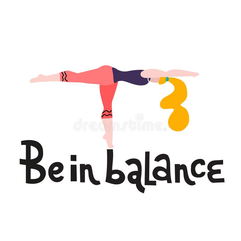 Young woman stand in a yoga pose print. Yoga girl in fitness position. Cute bright girl performs Warrior Pose. Be in balance royalty free illustration