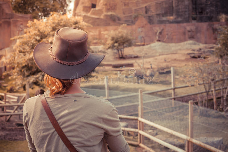 Young woman standing by animal enclosure. A young woman is standing by an animal enclosure stock images