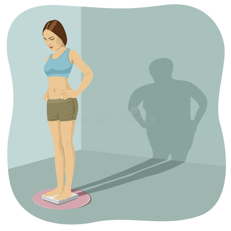 Young woman standing on bathroom scale with her shadow shows her distorted body image stock illustration
