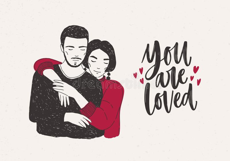 Young woman standing behind man and warmly embracing him and You Are Loved hand lettering decorated with tiny hearts royalty free illustration