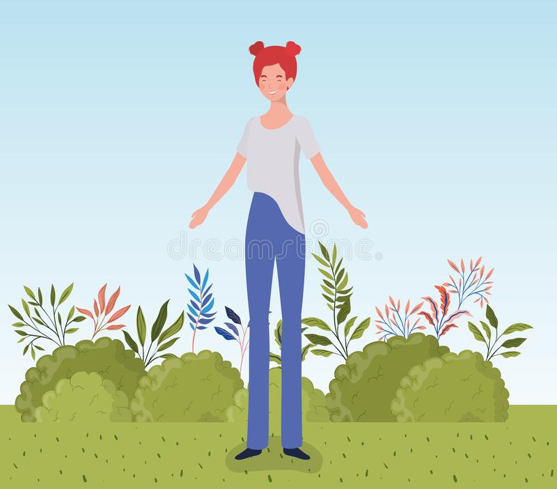 Young woman standing in the camp royalty free illustration