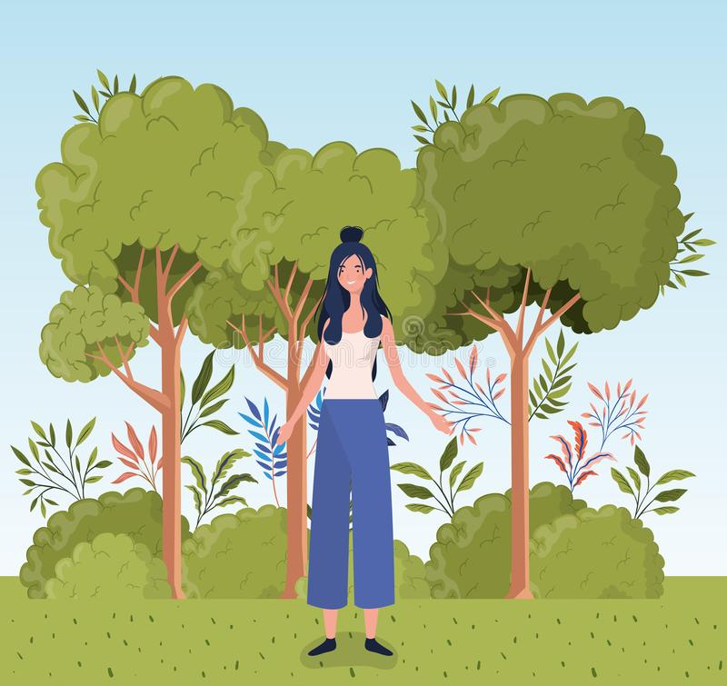 Young woman standing in the camp vector illustration