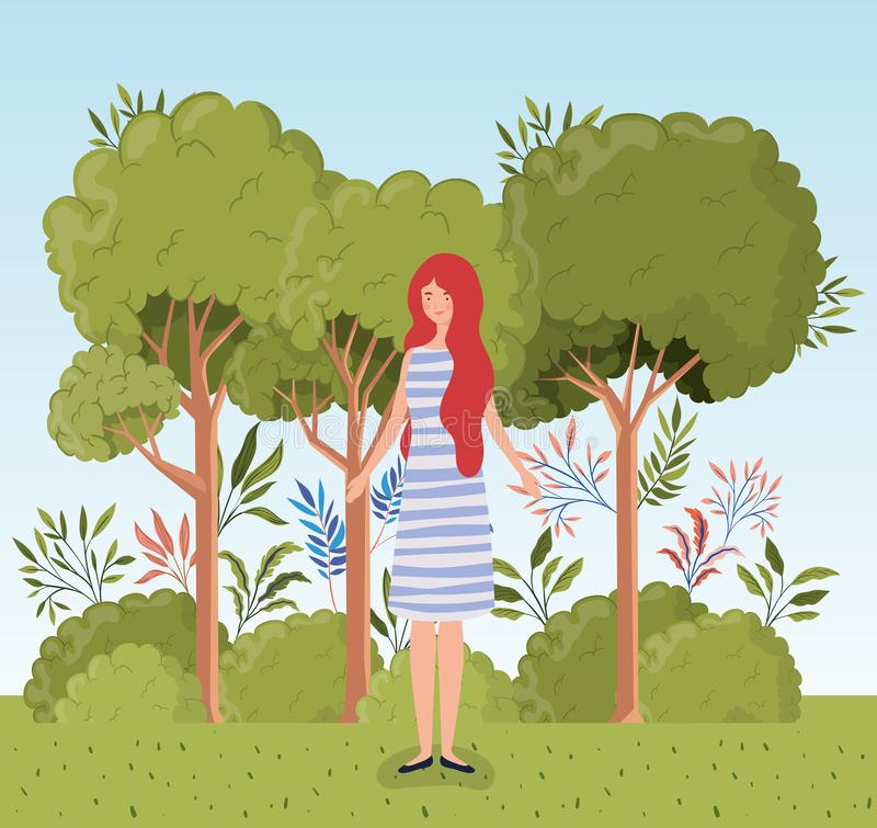 Young woman standing in the camp stock illustration
