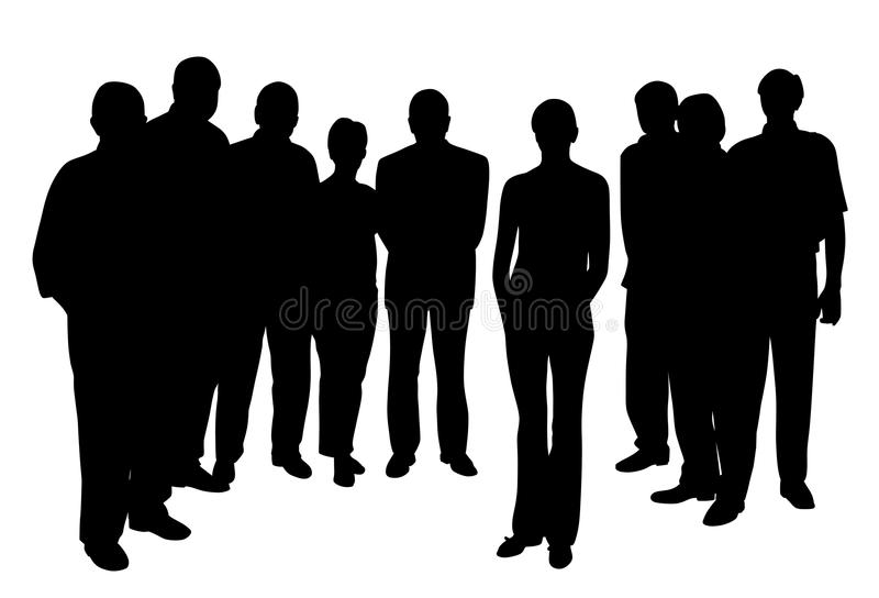 Young woman standing in front of people group stock illustration