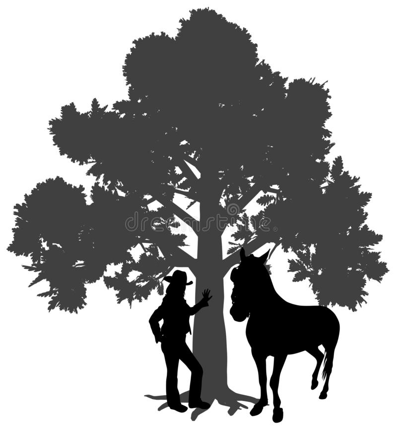Young woman standing with horse under oak tree. Illustration silhouette of a young woman standing with horse under oak tree. Young girl is leaning against a tree stock illustration