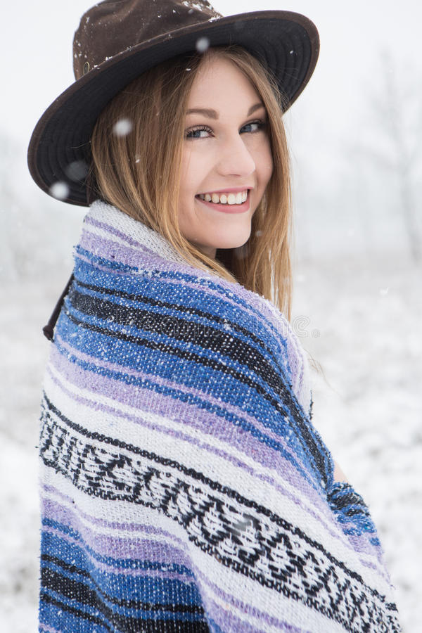 Download Young Woman Standing In Outdoors In The Snow. Stock Photo - Image: 83720424