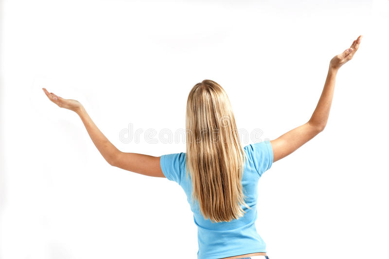 Young Woman Standing With Raised Arms Stock Photography