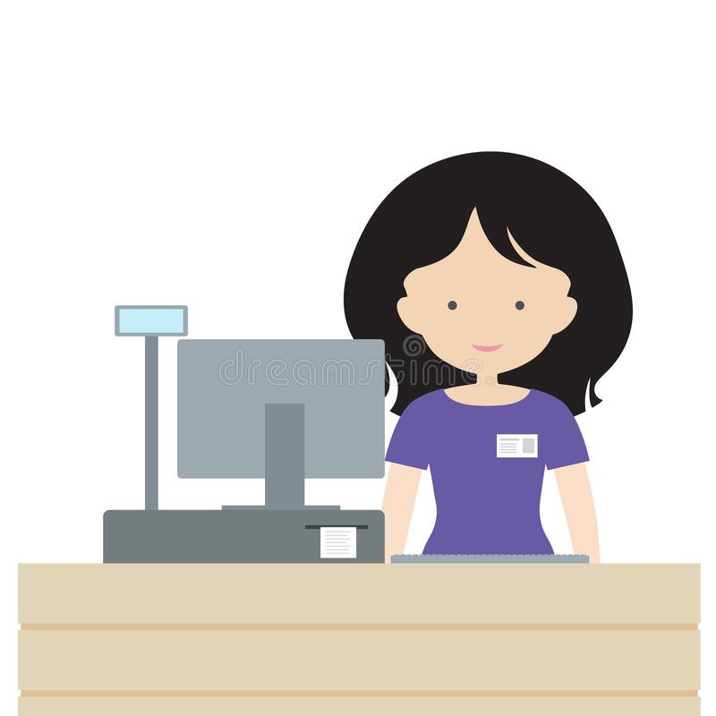 Young woman standing in store saleswoman behind the counter, selling and smiling at customers - flat design vector illustration