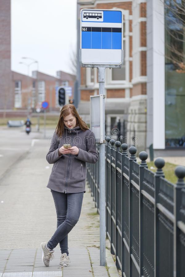 Young woman stands at a bus stop and looks at her cellphone royalty free stock images