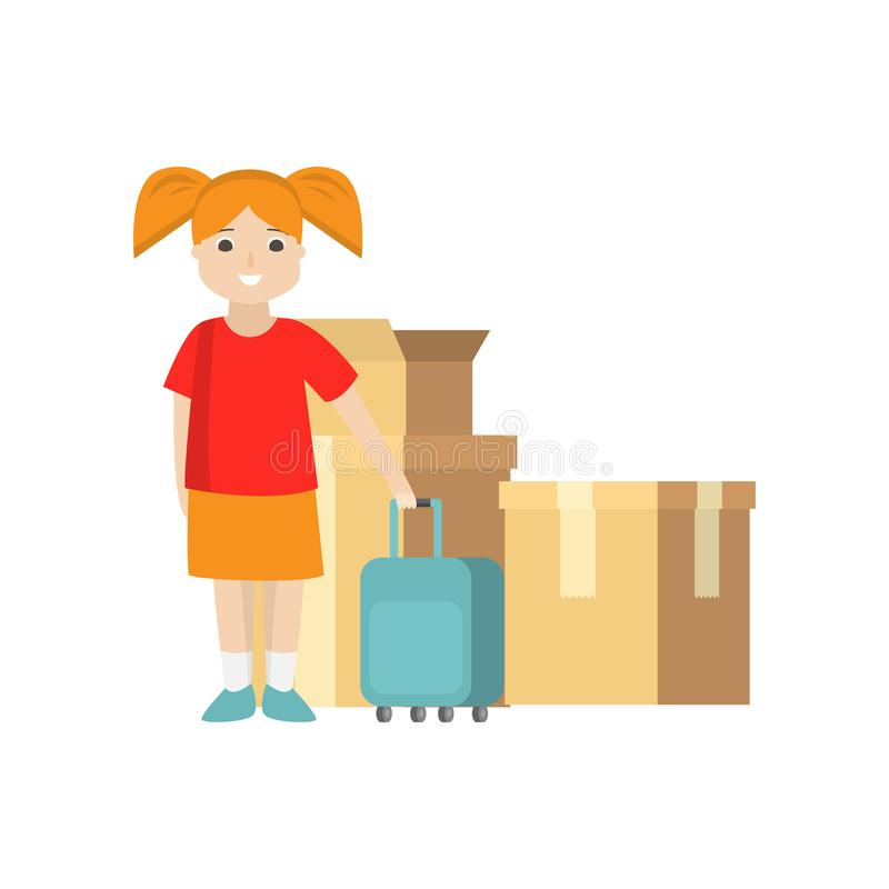 A young woman stands with a suitcase near packed cardboard boxes. A young smiling woman in red T-shirt and orange skirt stands with blue suitcase near packed royalty free illustration