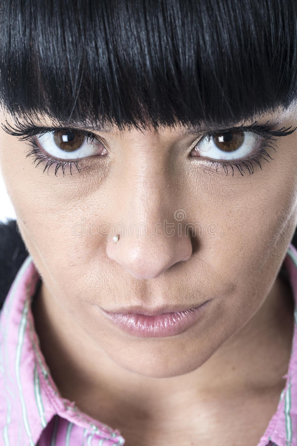 Young Woman Starring With Wide Brown Eyes Glaring Stock