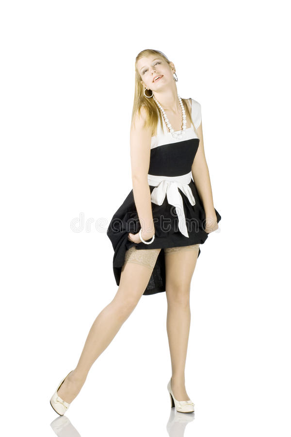 Young woman with stocking in pinup style royalty free stock photos