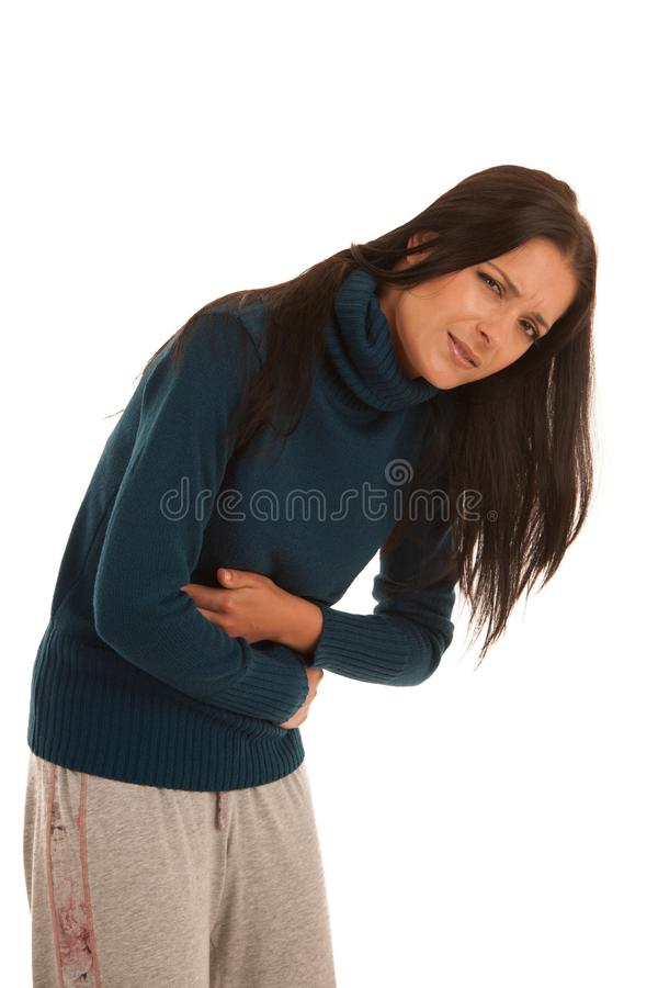 Young woman with stomach ache suffering isolated over white back stock images