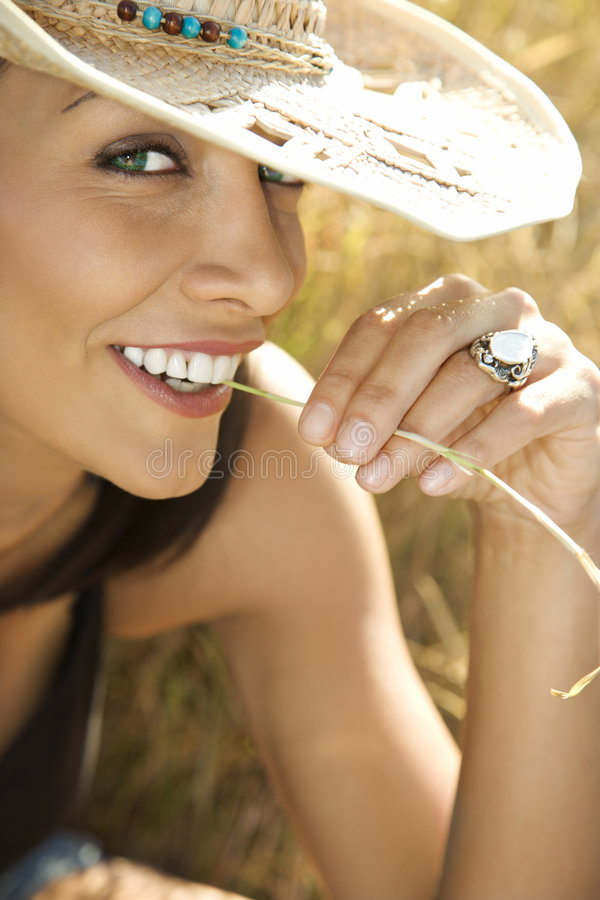 Young woman in straw cowboy hat. royalty free stock photo