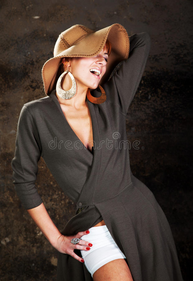 A young woman in a straw hat stock images