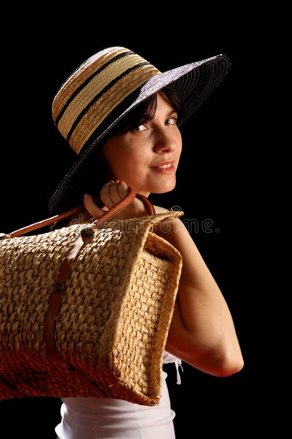 Download Young Woman With Straw Hat And Bag Stock Photo - Image of adult, isolated: 8879806