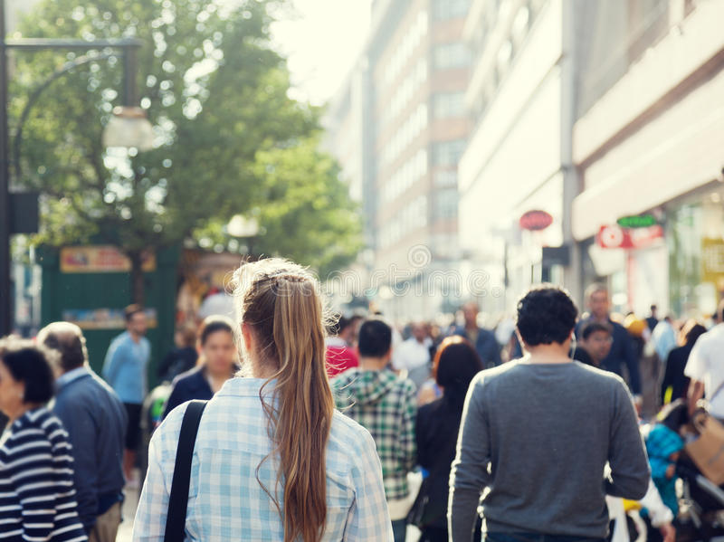 Young woman on street stock photo