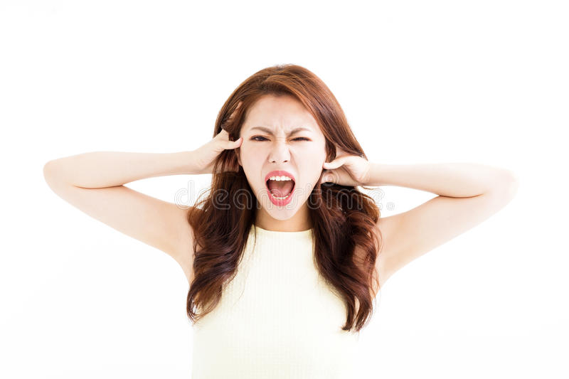 Young Woman stressed going crazy and pulling her hair. Young asian Woman stressed going crazy and pulling her hair stock images