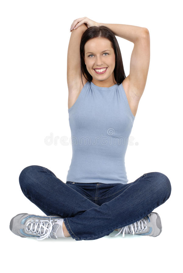 Young adult female woman stretching in gym, vertical, fitness, health, lifestyle stock photos