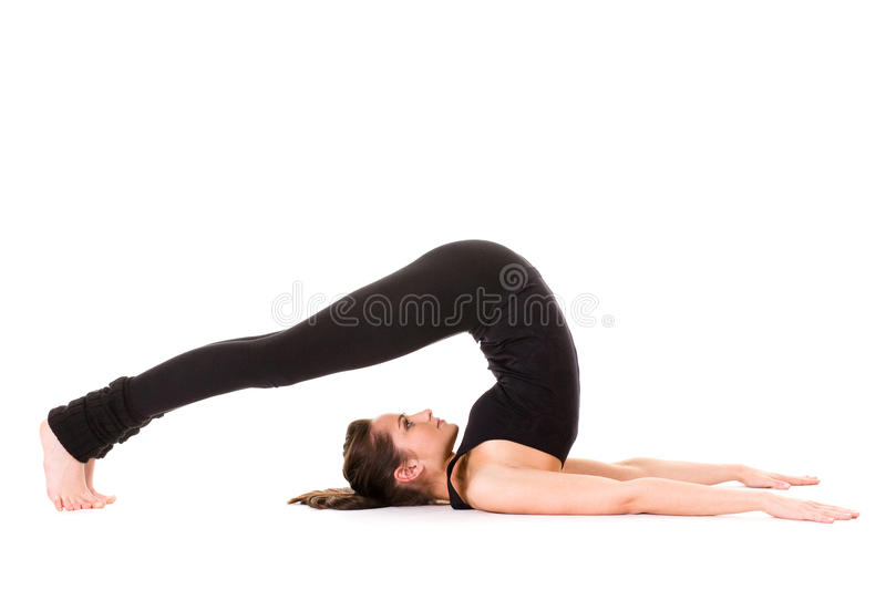 Young woman stretching, isolated on white stock photos