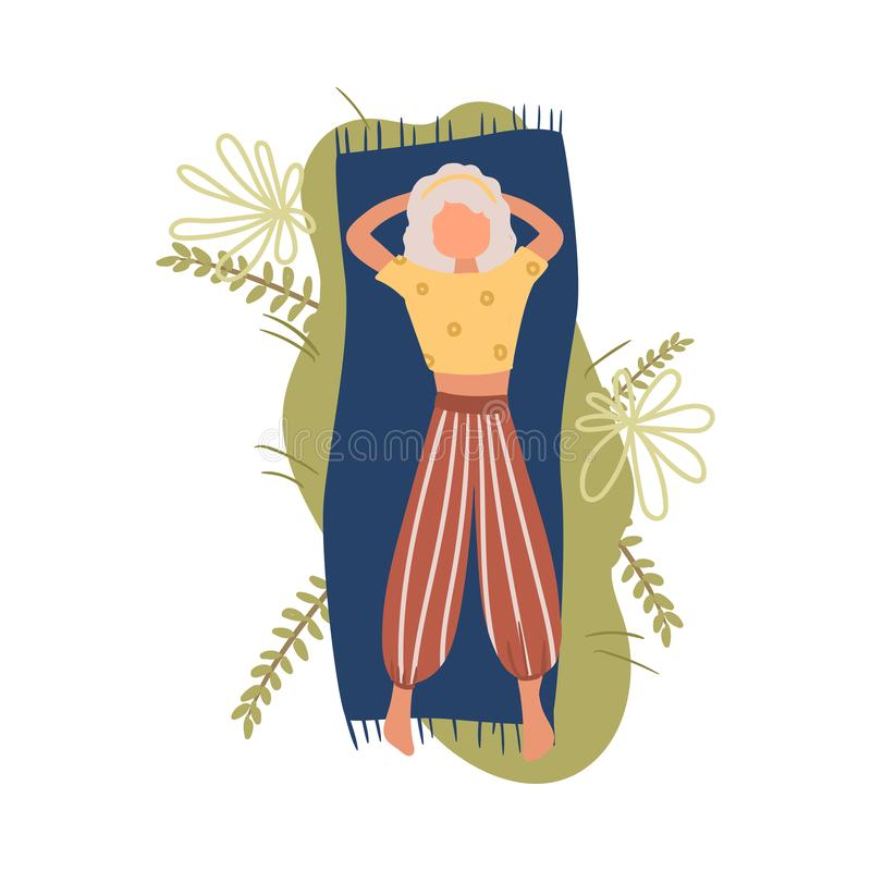 Young woman in striped pants lay on blue cover nature place royalty free illustration