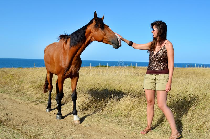 Woman Stroking a Beautiful Red Wild Horse. Young woman stroking a red horse grazing in the meadow on the sea stock photography