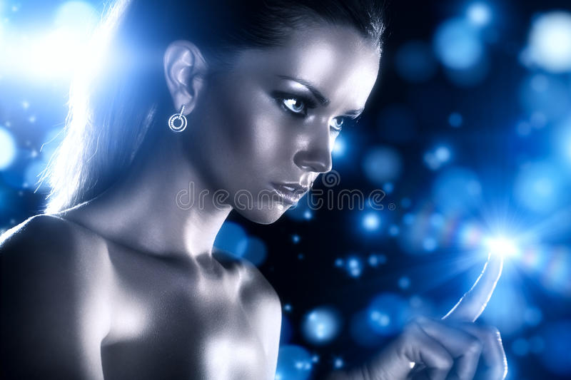 Young woman studio fashion portrait stock photography