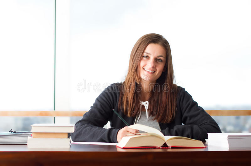 Young Woman Studying Royalty Free Stock Photography