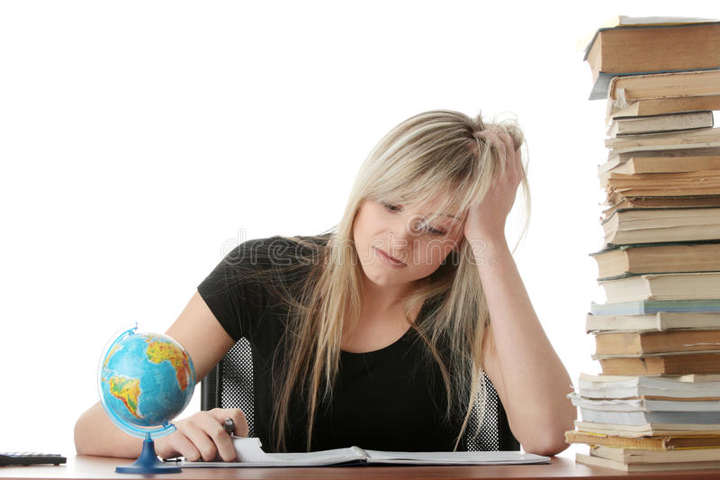 Download Young Woman Studying At The Desk Stock Image - Image: 12513497