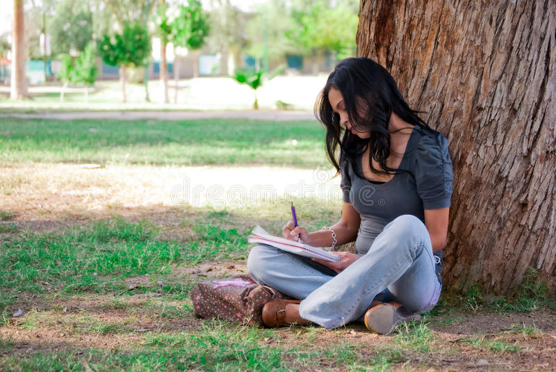 Young woman studying at the park. Young woman writing on a notebook and sitting next to a tree at a park royalty free stock photo