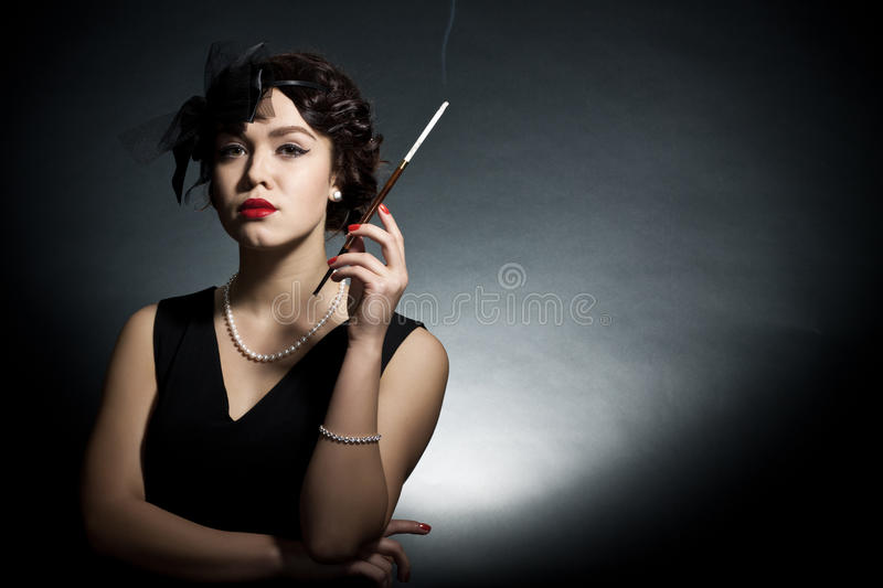 Download Young Woman In Style Of A Retro Stock Image - Image: 20868751
