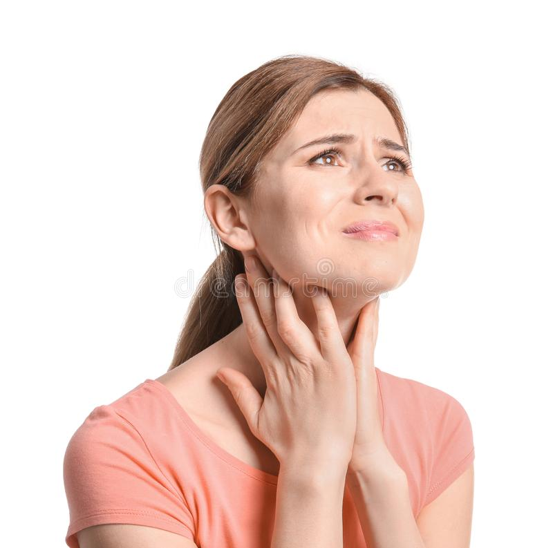 Young woman suffering from sore throat royalty free stock image