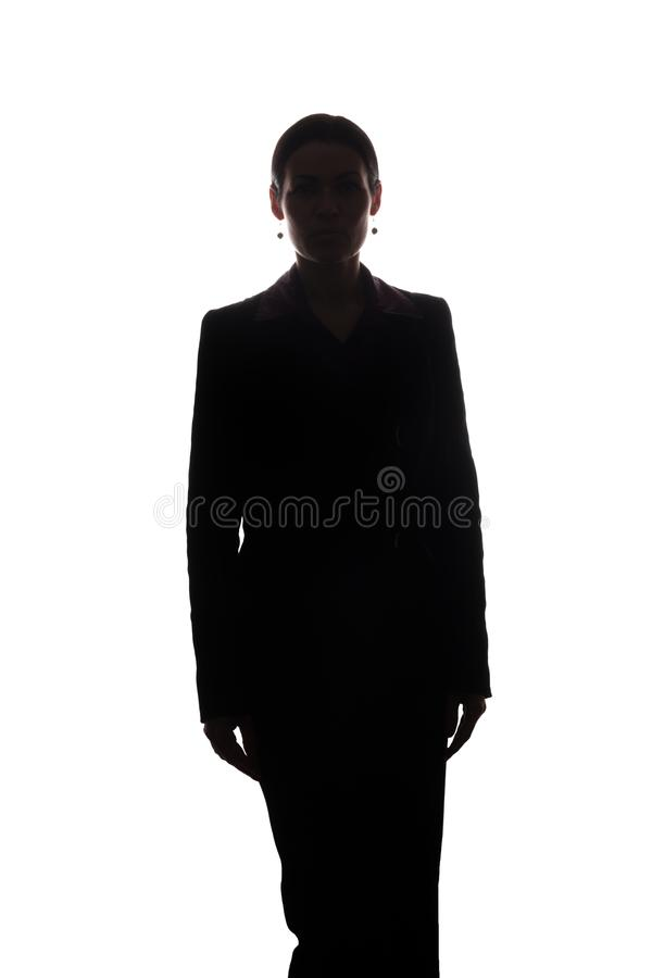 Young woman in suit, front view - silhouette royalty free stock photos