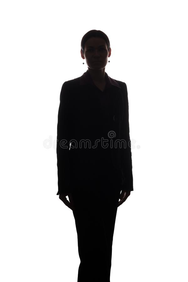 Young woman in suit, front view - silhouette royalty free stock image