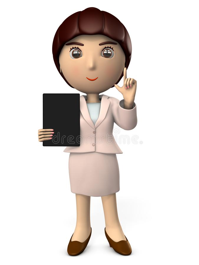 A young woman in suit with a tablet terminal to explain. A working woman. White background. 3D illustration. Asian. Business image royalty free illustration