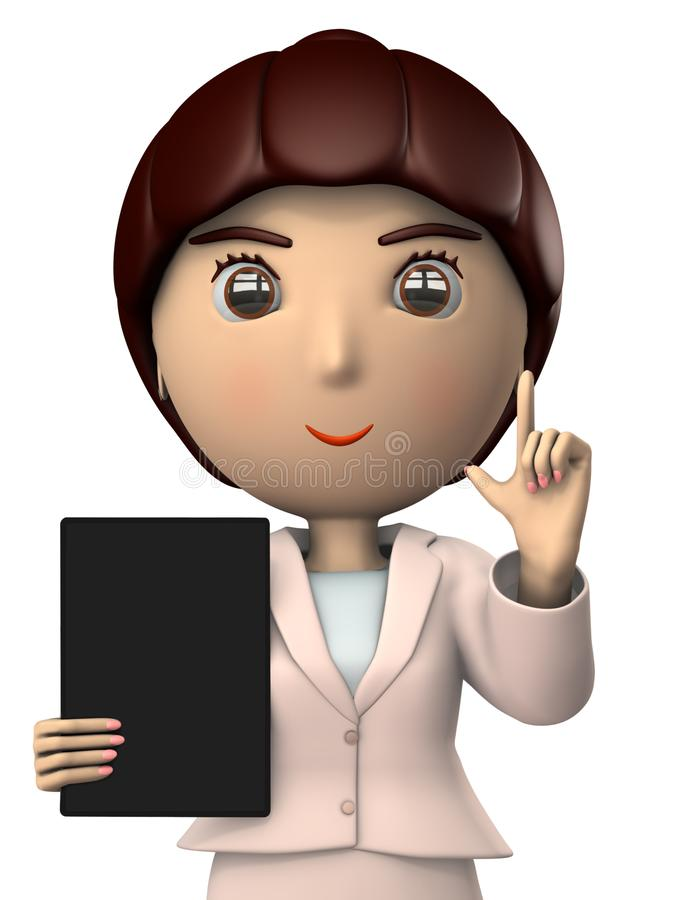 A young woman in suit with a tablet terminal to explain. A working woman. White background. 3D illustration. Asian. Business image stock illustration