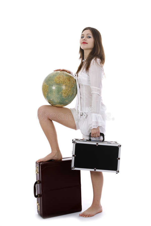 Young woman with suitcase and globe stock photos