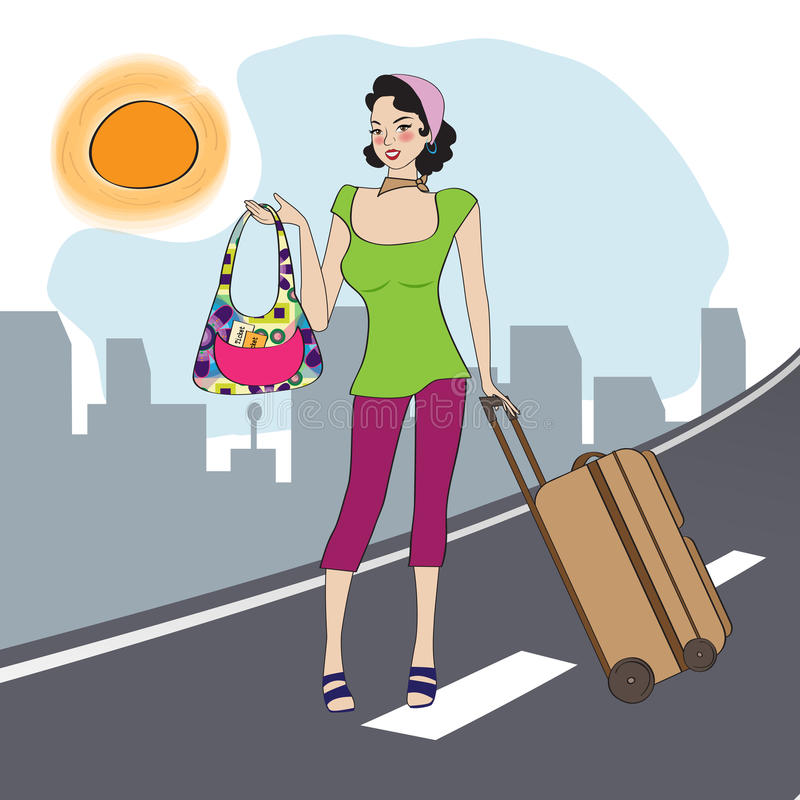 Download Young  woman with suitcase stock vector. Image of girl - 32878440
