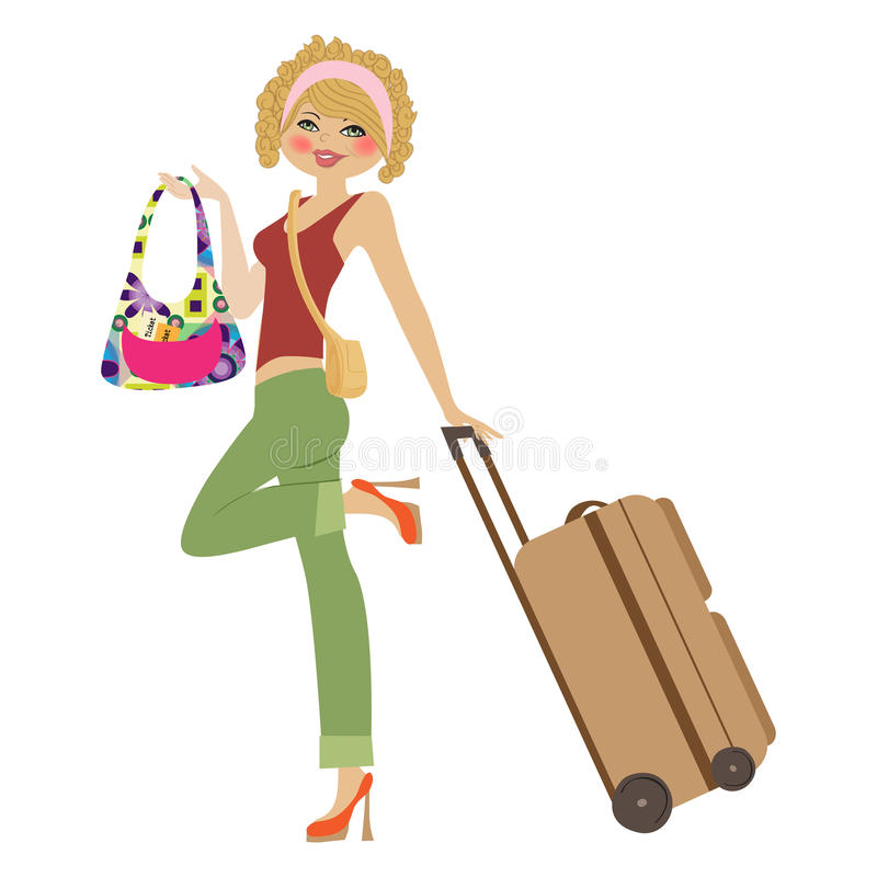 Download Young  woman with suitcase stock vector. Image of happy - 32878487