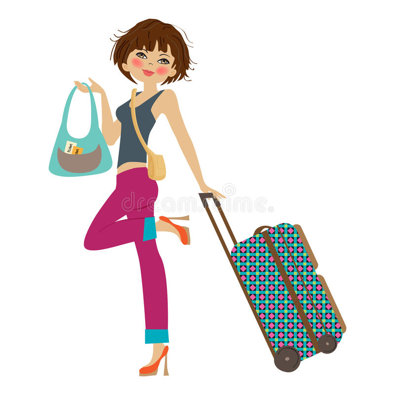 Download Young  woman with suitcase stock vector. Illustration of glamour - 32878499