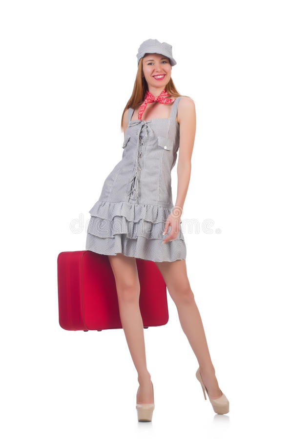 Download Young woman with suitcase stock image. Image of beautiful - 34469519