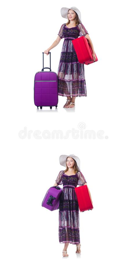 Young woman with suitcases isolated on white royalty free stock photo