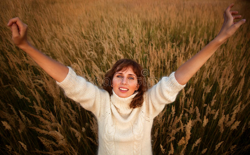 Download Young Woman On Summer Field Royalty Free Stock Photos - Image: 15831228